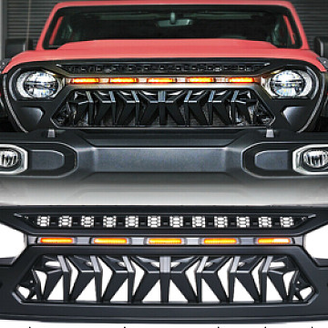 Image of a Jeep Wrangler Angry Grilles Jeep Wrangler JL  Angry Grille with 5 amber led lights 0007