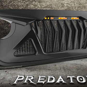Image of a Jeep Wrangler Angry Grilles Jeep Wrangler JL Predator grille with 3 amber led lights