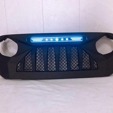 Image of a Jeep Wrangler Angry Grilles Jeep Wrangler JL  grill with blue led 004B