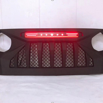 Image of a Jeep Wrangler Angry Grilles Jeep  Wrangler  JL  grill with red led 004R