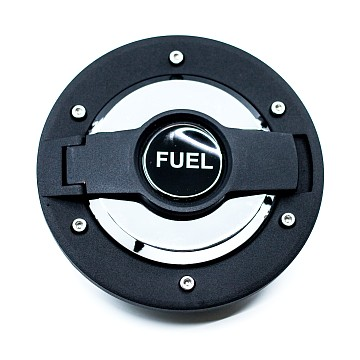 Image of a Jeep Wrangler  New Style Fuel Cap Door Cover With Logo