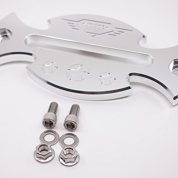 Image of a Jeep Wrangler  Silver Aluminum Hawse Winch Fairlead Cover