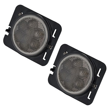 Image of a Jeep Wrangler Lights And Mirrors Pair LED Side Fender Lights Black Turn Signal Lamp