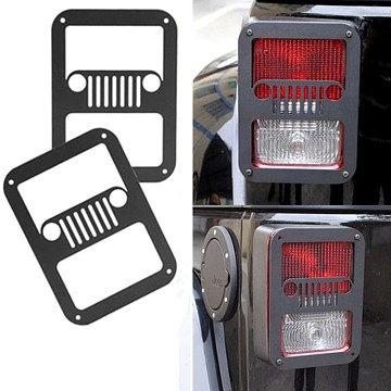 Image of a Jeep Wrangler Lights And Mirrors Pair Jeep Grille Style Flat Tail Light Cover Light Guard