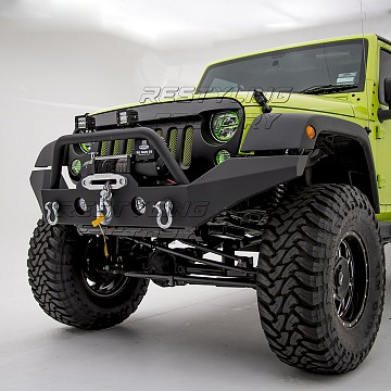 Image of a Jeep Wrangler Body Armor JW0292 Style Steel Front Winch Bull Bar