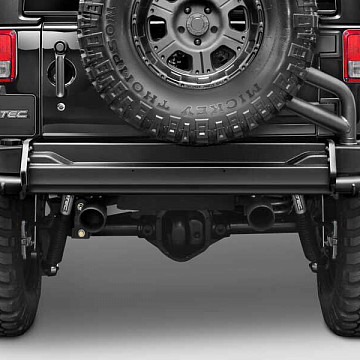 Image of a Jeep Wrangler Body Armor AEV Style Steel Rear Bumper Bar with Heavy Duty Spare Wheel Carrier