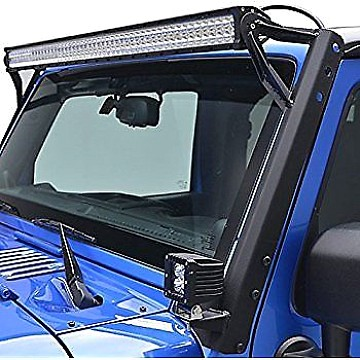 "Image of a Jeep Wrangler Brackets 50"" LED Light Bar Steel Upper Windshield Mounting Bracket"