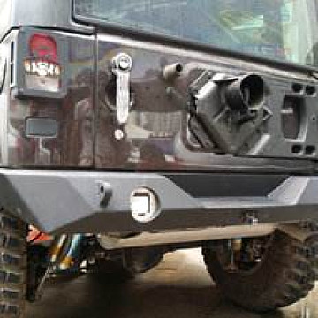 Image of a Jeep Wrangler Rear Bumpers And Tyre Carriers JW0363 PS Style Full width Steel Rear Bull Bar