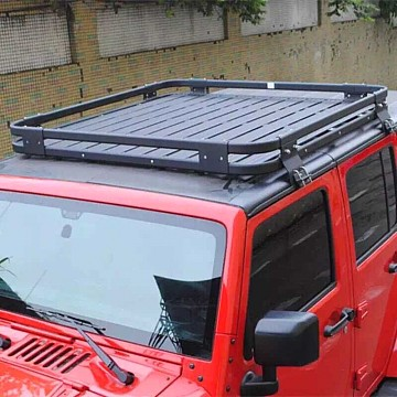 Image of a Jeep Wrangler  Light-weight Aluminium Roof Rack Gutter-mounted for Jeep Wrangler JK (4 Door)