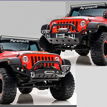 Image of a Jeep Wrangler Front Bumpers Tactical Edge Heavy Duty Steel Bumper with LED Lights and U-Bar (JW0308)