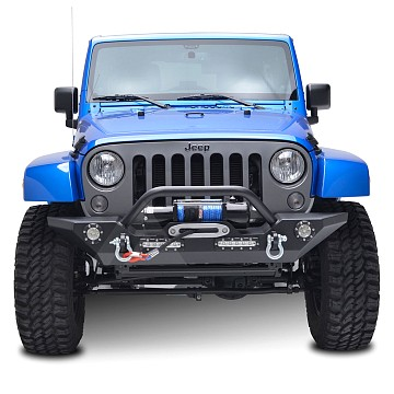 Image of a Jeep Wrangler Front Bumpers JW0245 Style Steel Front Winch Bull Bar
