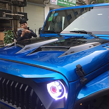 Image of a Jeep Wrangler  Transformer Style steel Bonnet Front Hood Body Kit