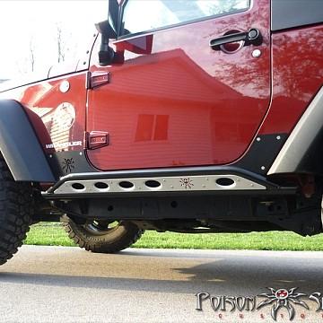 Image of a Jeep Wrangler  Poison Spyder Style Rock Sliders for 2-Door Jeep JK (Black/Silver)