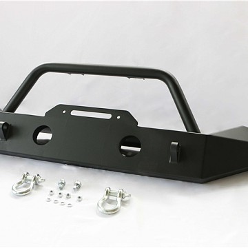 Image of a Jeep Wrangler Body Armor JW0292 Style Steel Front Winch Bull Bar mid width