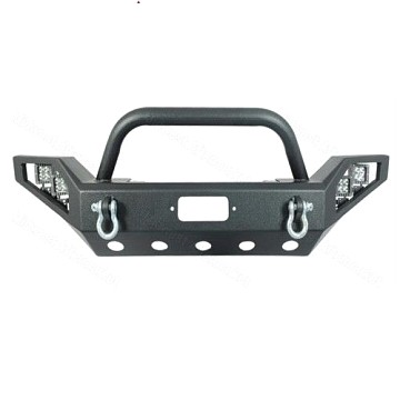 Image of a Jeep Wrangler Body Armor JW0308 Style Steel Front Winch Bull Bar with LED lights