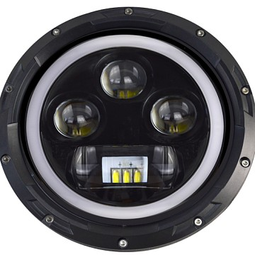 Image of a Jeep Wrangler Lights And Mirrors 0511 Style 7 Inch Halo ring LED Headlights