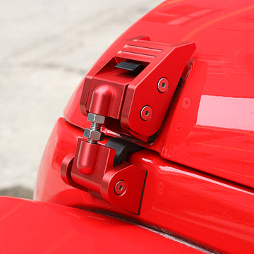 Image of a Jeep Wrangler Bonnets Red Color Bonnet Hood Lock Catch Kit