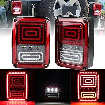 Image of a Jeep Wrangler Lights And Mirrors Pair LED Tail Lights Rear Turning Break Light 0120