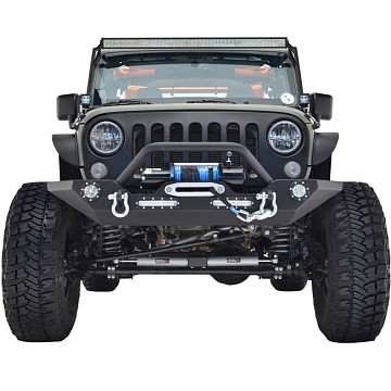 Image of a Jeep Wrangler Front Bumpers JW0245 Style Steel Front Winch Bull Bar with LED lights