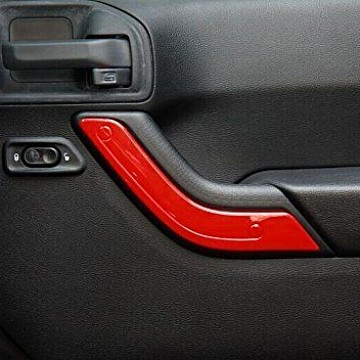 Image of a Jeep Wrangler  4 Door Red Inner Door Handle Trim Cover Interior