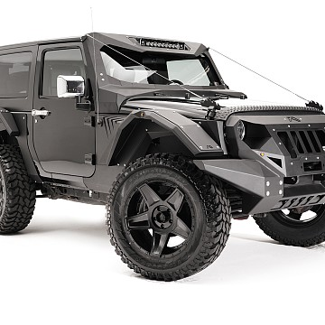 Image of a Jeep Wrangler  Fab Fours Style Steel Front&Rear Fender Flares Guard
