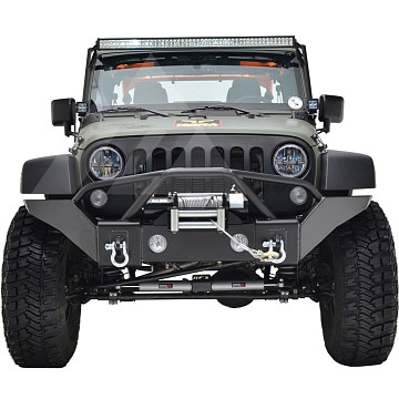 Image of a Jeep Wrangler  Heavy Duty Premium JW0350 Style Bumper (Matte-Black, incl. Fog Lights, D-Shackles, Winch-compatible)