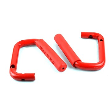 Image of a Jeep Wrangler  Pair Red Wild Boar Front Grab Handle Grip Accessory