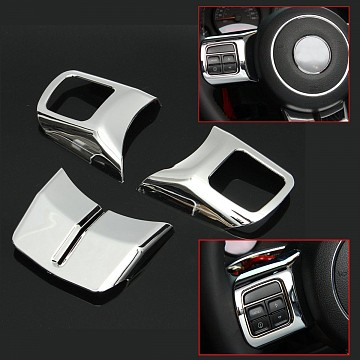 Image of a Jeep Wrangler  3 Pieces Silver Steering wheel Cover Trim
