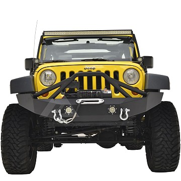 Image of a Jeep Wrangler Body Armor JW0316 Poison Spyder Style Steel Front Bumper with Winch Cradle and D-Ring & LED Lights