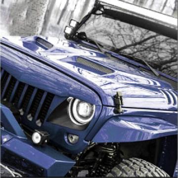 Image of a Jeep Wrangler Bonnets Transformer Style steel Bonnet Front Hood Body Kit