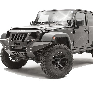 Image of a Jeep Wrangler Body Armor Fab Fours Grumper Style Steel Full width Front Bull Bar with Grill