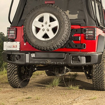Image of a Jeep Wrangler Rear Bar Rugged Ridge Spartacus Style Rear Bumper Bar with Recovery Points