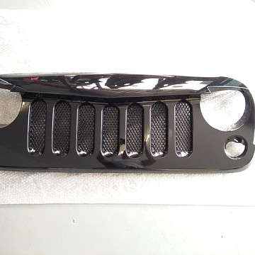 Image of a Jeep Wrangler Angry Grilles Angry Bird Grille V Shape Gloss black with Mesh