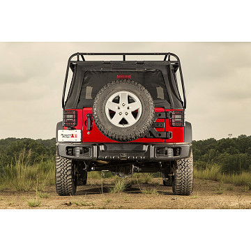 Image of a Jeep Wrangler Rear Bumpers And Tyre Carriers Rugged Ridge Spartacus Style Rear Bumper Bar with Recovery Points