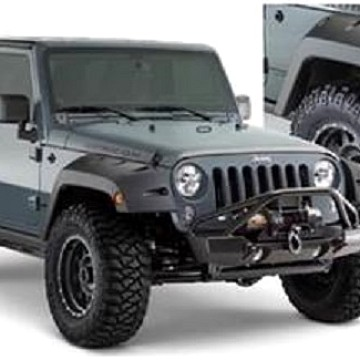 Image of a Jeep Wrangler Wheel Arch Flares Bushwacker Pocket Style Front & Rear Fender Flares Guard