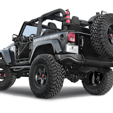 Image of a Jeep Wrangler  AEV Style Steel Rear Bumper Bar with Heavy Duty Spare Wheel Carrier