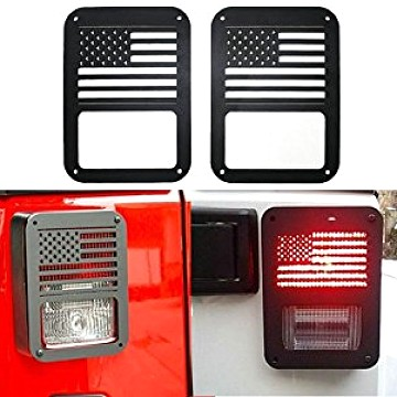 Image of a Jeep Wrangler Lights And Mirrors Pair American Style Flat Tail Light Cover Light Guard