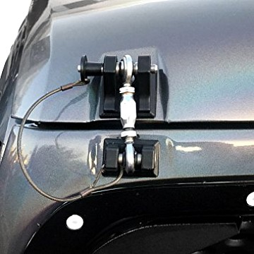 Image of a Jeep Wrangler Bonnets Black Color Retro Style Bonnet lock Catch Kit