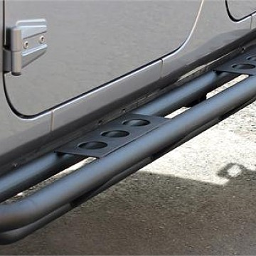 Image of a Jeep Wrangler  Smittybilt Style Rock Sliders for 4-Door Jeep Wrangler JKU Black-satin (Set)