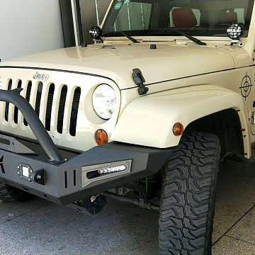 Image of a Jeep Wrangler Body Armor JK Warehouse Custom design front bull bar with LED Lights ON SPECIAL