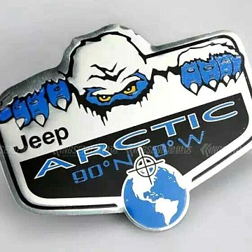 Image of a Jeep Wrangler Accessories 3D Arctic Lable Sticker Chrome
