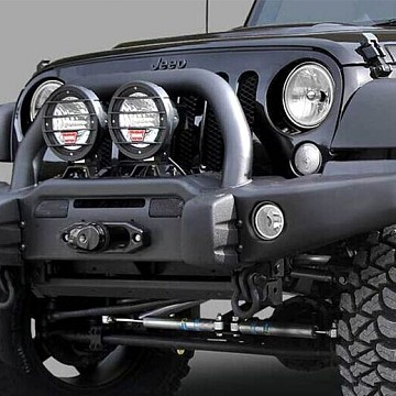 Image of a Jeep Wrangler  AEV Style Front Bumper with Winch Cradle, Bullbar, Tow Rings and Fog Light Inserts