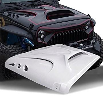 Image of a Jeep Wrangler Bonnets Avenger Style FRP Bonnet Front Hood