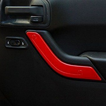 Image of a Jeep Wrangler  2 Door Red Inner Door Handle Trim Cover Interior
