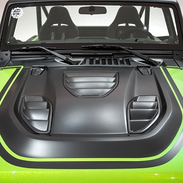 Image of a Jeep Wrangler Bonnets Tailcat Style High Flow Steel Bonnet with Three Vents