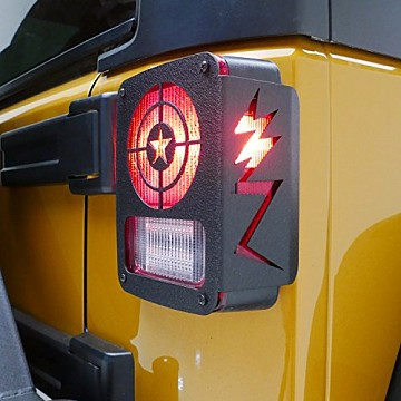 Image of a Jeep Wrangler Lights And Mirrors Captain America Tail Light Cover Light Guard (Pair)