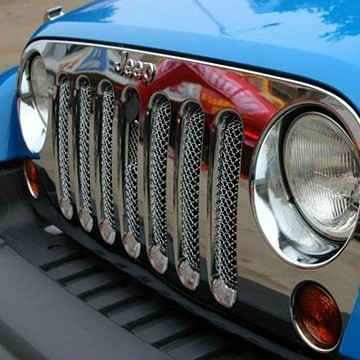 Image of a Jeep Wrangler Angry Grilles  3D Chrome Grill Mesh Insert With Lock Hole Fit OEM Grille