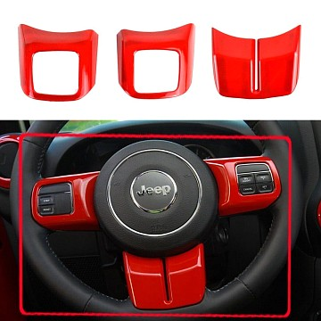 Image of a Jeep Wrangler Interior 3 Pieces Red Steering wheel Cover Trim