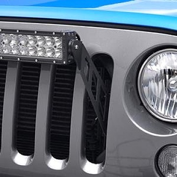 "Image of a Jeep Wrangler  20"" LED Light Bar Bracket Mount Through Grille Grill"