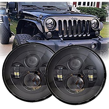 Image of a Jeep Wrangler Lights And Mirrors 0492 Style 7 Inch LED Headlights